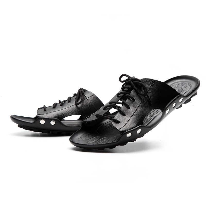 LINGGE ยี่ห้อใหม่ผู้ชายรองเท้าแตะฤดูร้อนรองเท้าแตะชายหาดวัวแยกหนังชายรองเท้า