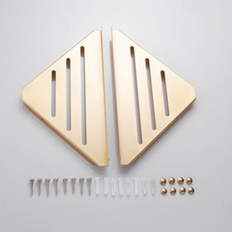Estantes de esquina de 2 niveles de Hongdec triangulares de oro cepillado para montaje en pared estantes de ducha de pared - 4