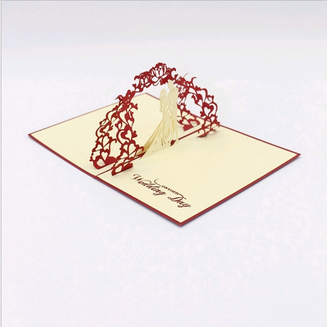 Fashion 3d Pop Up Foldable Cut Paper Greeting Creative Diy Handmade