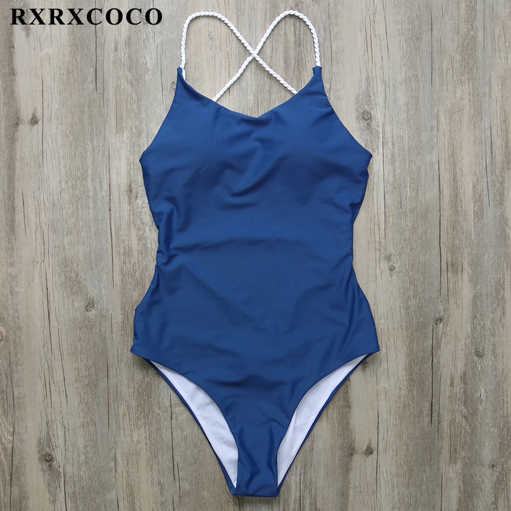 Buy RXRXCOCO Solid One Piece Swimsuit Women Halter Bandage Swimwear Female Padded Monokini Sexy Backless Bathing Suit Swimming Suit