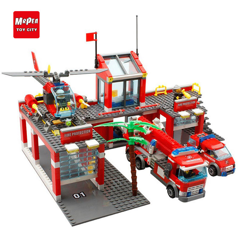 New City Fire Station 774pcs/set Building Blocks DIY Educational Bricks Kids Toys compatible with legoe Best Kids Xmas Gift