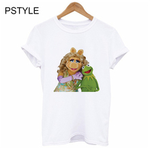 t shirt for women kermit the frog and miss piggy funny shirts summer short sleeve tv show tshirt design white tee