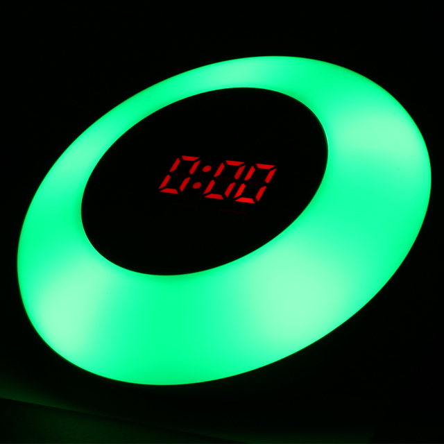 RGB Light LED Mirror Clock Alarm Touch Screen Snooze Temperatuur Display Verstelbare Make Up Tafel Klok Woondecoratie Klok