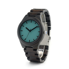 BOBOBIRD I21 Nature Ebony Wooden Mens Watch Simple Style Bule Dial Wooden Band Watches As Men