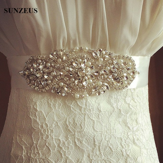 Colorful Satin Formal Party Dress Accessory Bride Wedding Belts Beaded Pearl Cinturon De Novia Bridal Belt Accessories S1238