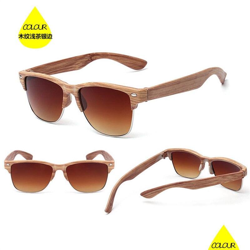 Women's Sunglasses Oculos-De-Sol Imitation-Wood Vintage Summer-Style Cat Eyes For Woman