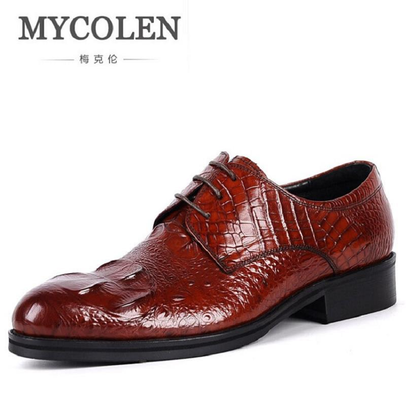 MYCOLEN Genuine Leather Gentleman Men Suit Shoes High Quality Winter Shoes For Men Vintage Style Men Flats Wine Red chaussure mycolen mens casual genuine leather flats loafers for men comfortable business wine red black crocodile print man leather shoes