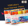 High Quality 100Colors Twin Tips 0 4MM Fine Brush Marker Pen Water Based Ink Sketch Marker