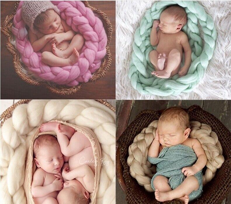 Newborn Photography Props Baby Photo Blanket 5 Colors 4M Long Basket Acrylic Filler Braid Basket Stuffer atrezzo fotos bebe