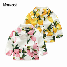 Kimocat Baby Boy Girl Clothes Kids Girl's Lemon Jacquard Suit Jacket Coat Winter Jackets Girls Lovely Pink&Yellow Baby Clothing children girls baby cute ears quilted cotton baby clothes winter girl coat clothing fashion hot sale warm boy jacket