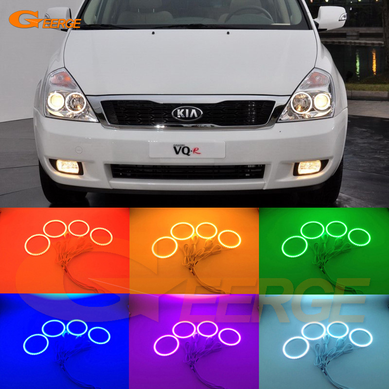 For KIA GRAND CARNIVAL VQ 2006-2013 Excellent Multi-Color Ultra bright RGB LED Angel Eyes kit Halo Rings for mercedes benz b class w245 b160 b180 b170 b200 2006 2011 excellent multi color ultra bright rgb led angel eyes kit