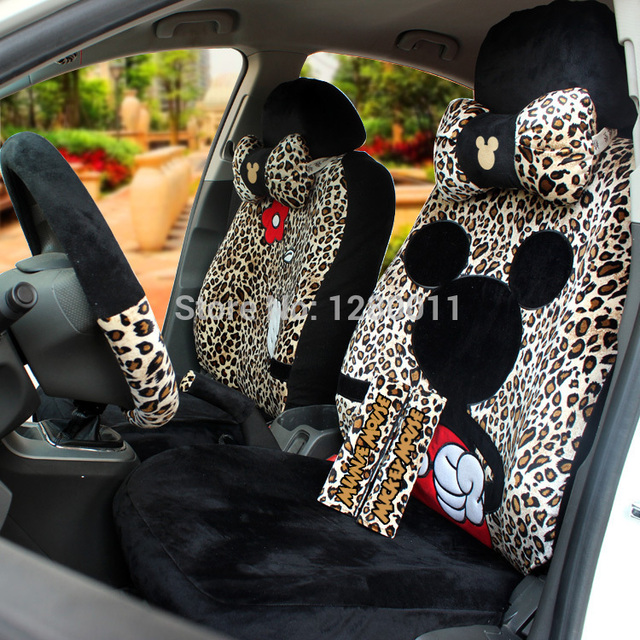 Black Leopard Mickey Minnie Mouse Car Seat Covers Accessories For 5 Seats Shoulder