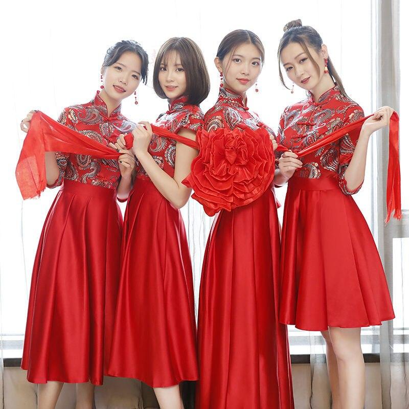 newest bd38d 43506 Cinese Tradizionale Donne Damigella D'onore Matrimonio Elegante Abito Rosso  Estate Cheongsam Fiore Sexy Abiti Plus Size Lady Qipao XS-3XL
