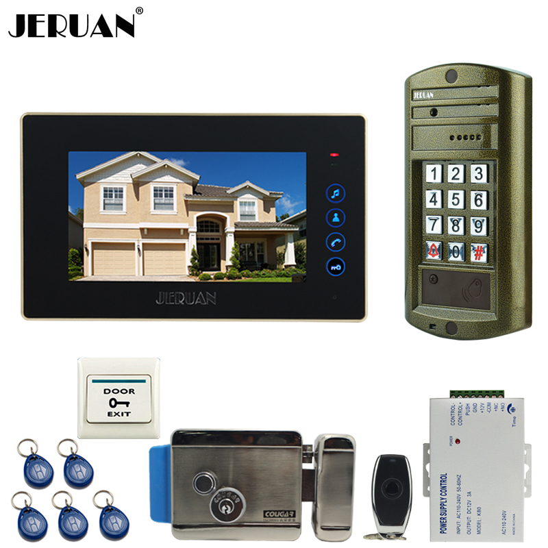 JERUAN 7 inch Touch Key Video Door Phone Intercom System kit Metal panel Waterproof Password Keypad HD IR Mini Camera +E-lock jeruan 8 inch video door phone high definition mini camera metal panel with video recording and photo storage function