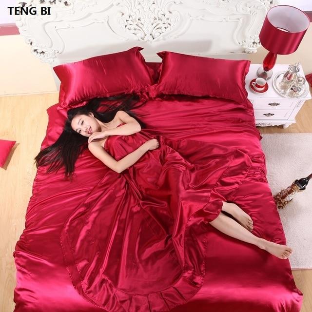 100% Pure Satin Silk Bedding Set,Home Textile Full/Queen