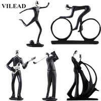 VILEAD 17 Styles Resin Sports Man Figurines Football Bicycle Golf Miniatures Guitar Saxophone Music Player Model Home Deoration