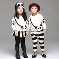 Girl set Korean panda pattern children suit for boys new designer cartoon sweatershirt + pants/pantskirt cute ropa bebe infantil