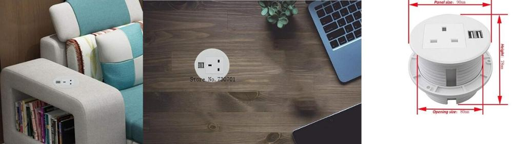 Prise de bureau à prise universelle UK blanc pur avec 1 prise de courant, 2 prises USB pour un usage bureautique US/EU/AU/UK disponibles