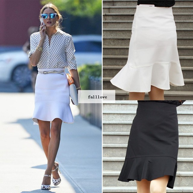 New 2015 Fashion Women Lady Slim Fish Tail Pencil Skirts OL Office Wear High Waist Flouncing Skirt