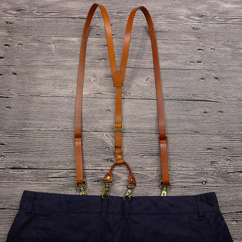 Image 3 - British Style Hook mens Suspenders Vintage Adjustable Unisex Genuine Leather Suspender Bronze Shoulder Strap pant suspenders men-in Men's Suspenders from Apparel Accessories