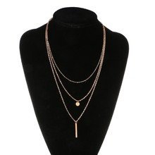 Gold Silver Plated Bar Lariat Necklaces 3 Layers Chain Pendants Necklaces Women Jewelry Jan4 -W128(China)