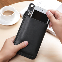 BAQI Brand Men Wallets Genuine Leather Cowhide High Quality Purse 2019 Fashion Card Holder Man Zipper Wallet Long Phone Bag New