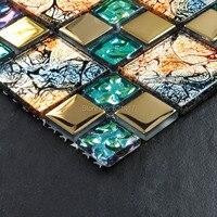 Iridescent seven color symphony gold electroplate crystal glass mosaic tiles for backsplash kitchen sticker bathroom floor tiles
