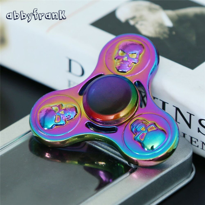 Abbyfrank Anti stress Toy Skull Fidget Spinner Metal Spinning Toy Rainbow Hand Spinner Titanium Alloy Toy
