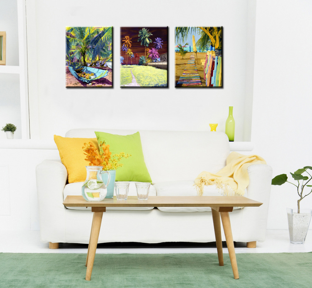 3 piece canvas wall art sets abstract tropical plants canvas prints ...