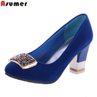 Asumer 2020 new elegant rhinestone women pumps square heel round toe high heels women shoes fashion party wedding shoes
