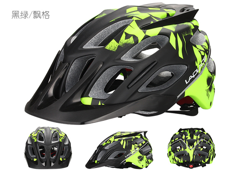 ФОТО LAPLACE Q3 in mold with visor 52-60cm L size unique design painting MTB mountain bike helmet DH AM bicycle adult helmet
