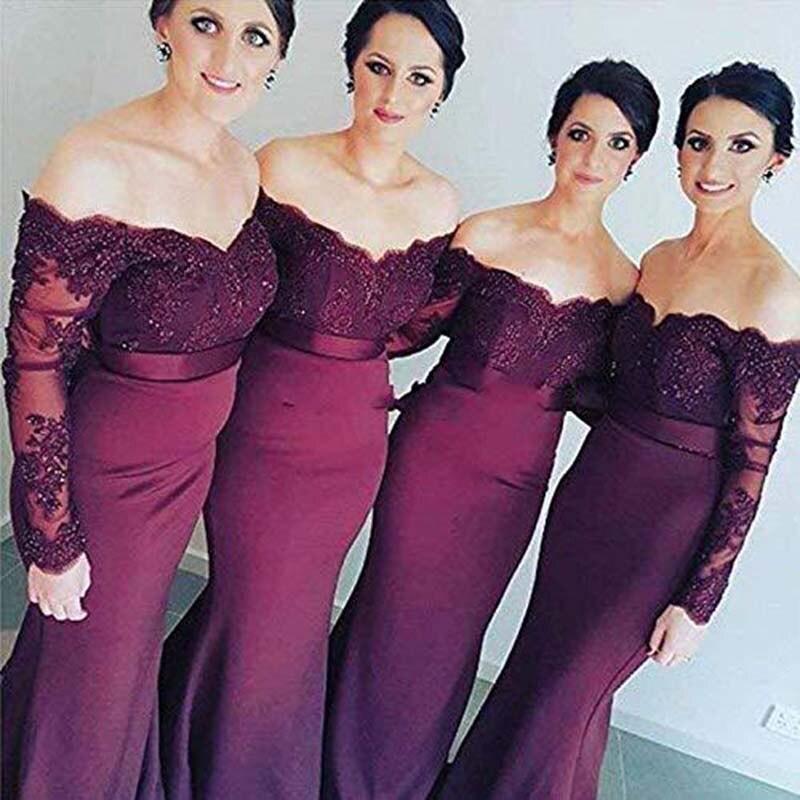 Doragrace Applique Off-Shoulder Mermaid   Bridesmaid     Dresses   Long Sleeves Wedding Party   Dress