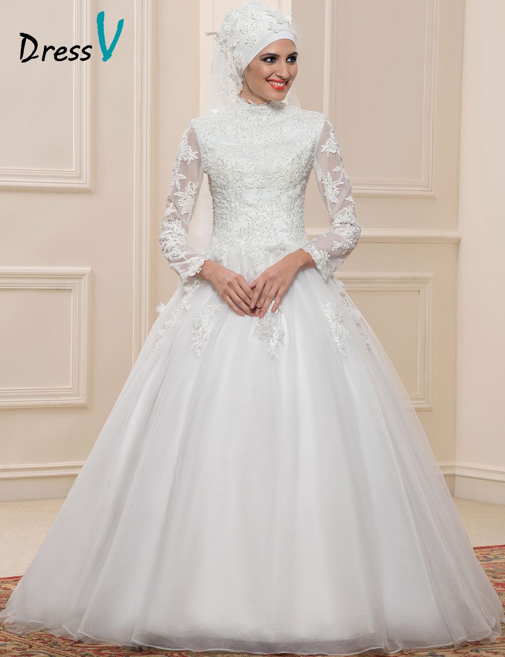 Dressv Muslim Lace Ball Gown Wedding Dresses Long Sleeves