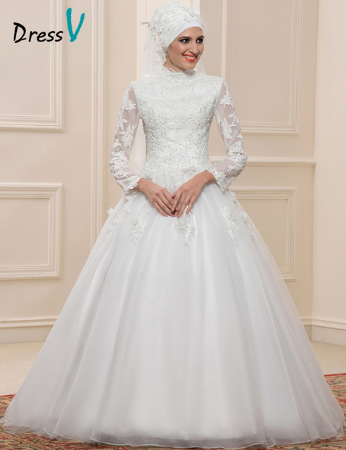Dressv Muslim Lace Ball Gown Wedding Dresses Long Sleeves High Neck Arabic Bridal  Gowns Applique Islamic 02f315f077e9