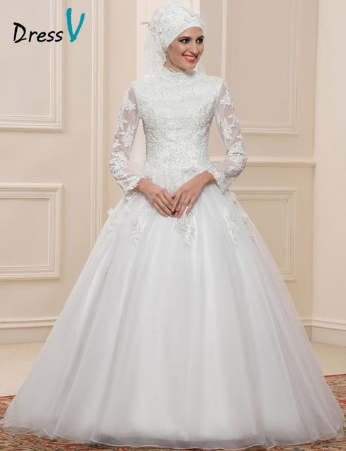 Dressv Muslim Lace Ball Gown Wedding Dresses Long Sleeves High Neck Arabic Bridal Gowns Applique Islamic