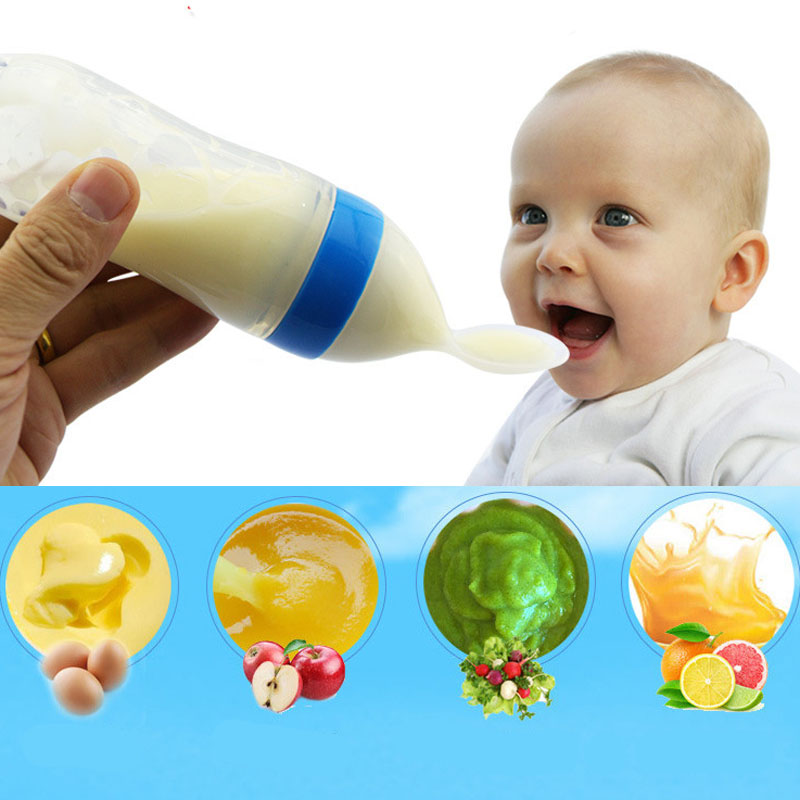 90ml Baby Silica Gel Squeeze Spoon Feeding Milk Bottle Toddler Food Supplement Rice Spoon Soup Cups Bottles christmas gift цена