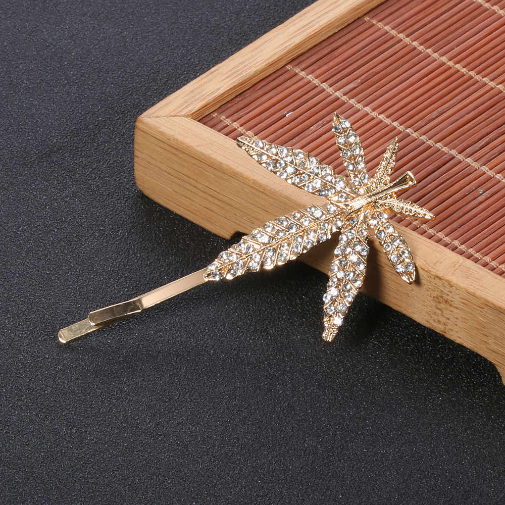 MLING Fashion Gold Crystal Hair Clip Vintage Maple Leaf Hair Clip For Women