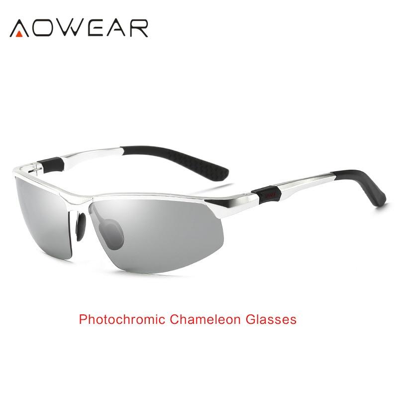 AOWEAR HD мужские фотохромные поляризованные солнцезащитные очки, мужские поляризованные очки-хамелеоны для дневного ночного вождения, антибликовые очки Gafas - Цвет линз: Silver