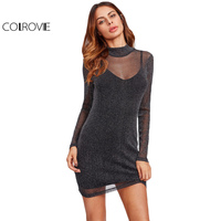 COLROVIE Glitter Mesh 2 In 1 Dress 2017 Black Overlay Women Sexy Party Club Summer Dresses