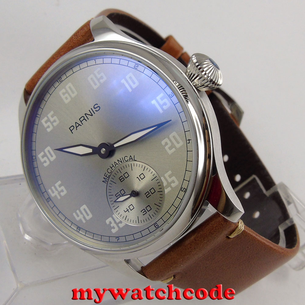 где купить 44mm parnis gray dial leather hand winding 6497 mechanical mens watch P804 дешево