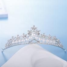 Wedding Crystal Pearl Crown and Tiara Bride Hair Accessories Head Pieces Silver Nupcial Diadem Jewelry