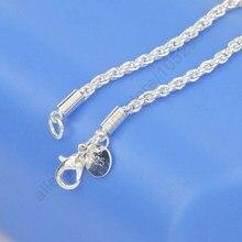 3 мм ширина чистого 925 пробы серебра Шарм Веревка ожерелье цепи ювелирные изделия с хорошее качество застежка Омар Набор 16-30 дюймов