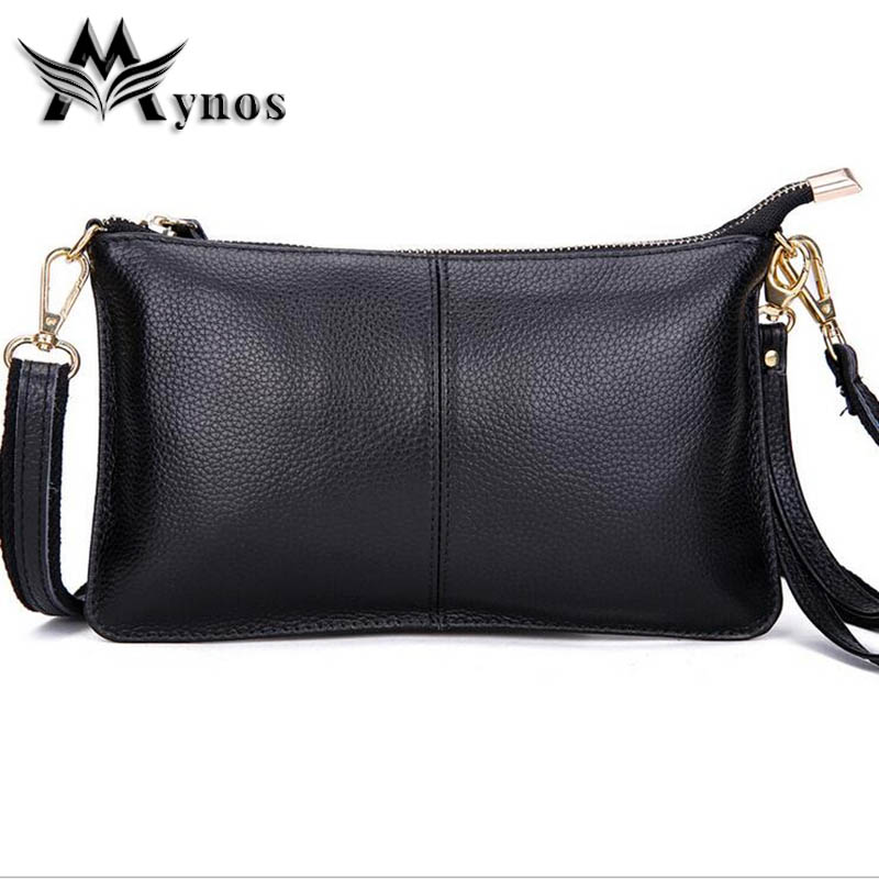 Mynos Fashion Genuine Leather Evening Crossbody Bag For Women Messenger Bag Lady Shoulder Bag Female Purse Day Clutch Sac A Main
