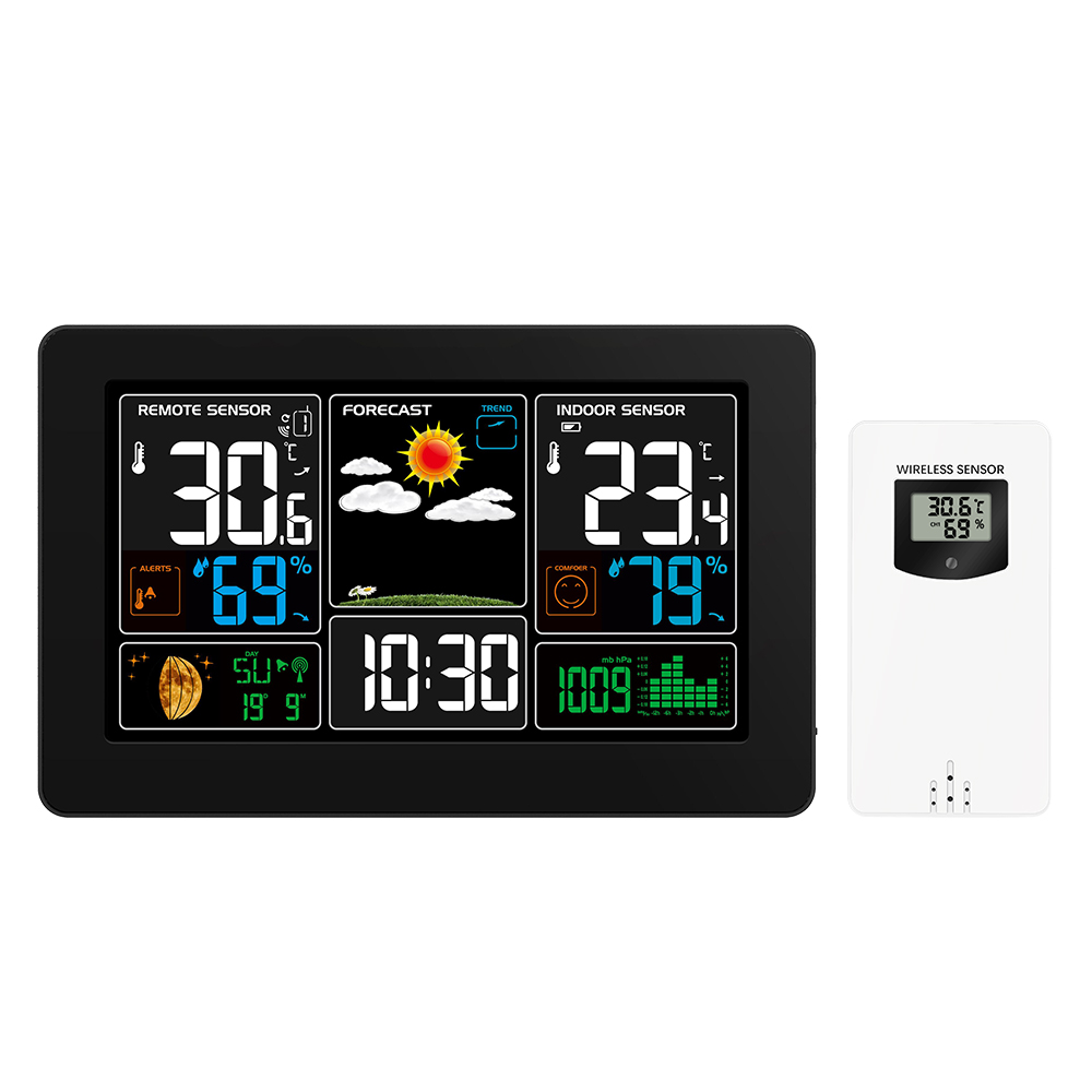 Wireless Color Weather Station LCD Screen Display Alarm Clock With Outdoor/Indoor Temperature Humidity Digital Weather Forecast
