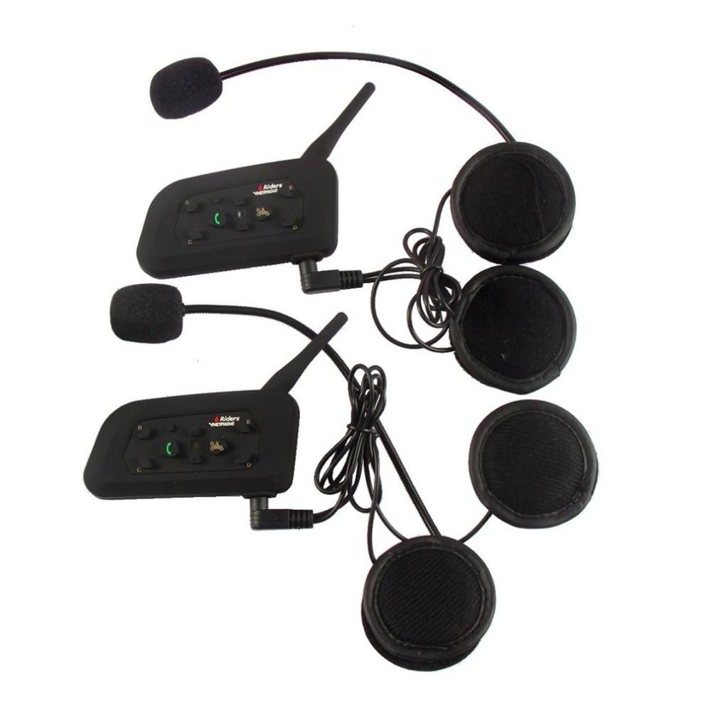 LESHP Metal clip+V6 Pro 6 Rider Motorcycle Helmet BT Interphone 1200 Wireless Bluetooth Interphone Headset Stereo music