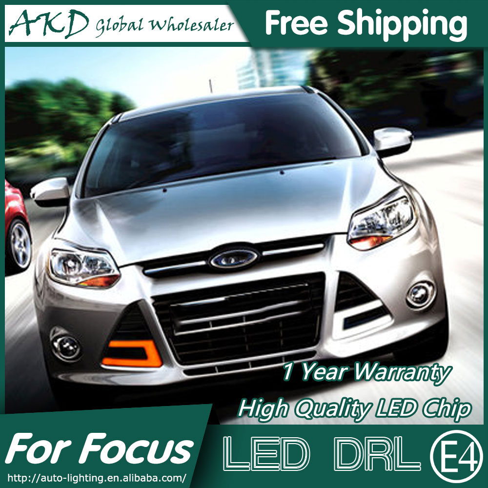 AKD Car Styling for Ford Focus 3 DRL 2012-2014 Focus COB Signal DRL LED Daytime Running Light Fog Light Parking Accessories akd car styling for kia sportage r drl 2014 new sportager led drl korea design led running light fog light parking accessories