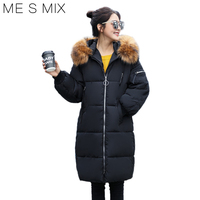 2017 ME S MIX New Collection Winter Women S Long Cotton Coat Hooded Fur Collar Women