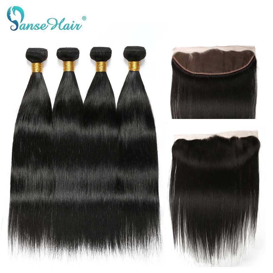 Panse Hair Brazilian Straight Human Hair 4 Bundles With One Lace Frontal Customized 8-28 Inches Non Remy Natural Black Weaving