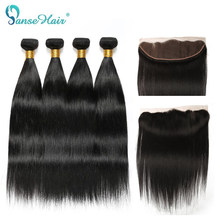 Panse Hair Brazilian Straight Human Hair 4 Bundles With One Lace Frontal Customized 8-28 Inches Non Remy Natural Black Weaving(China)