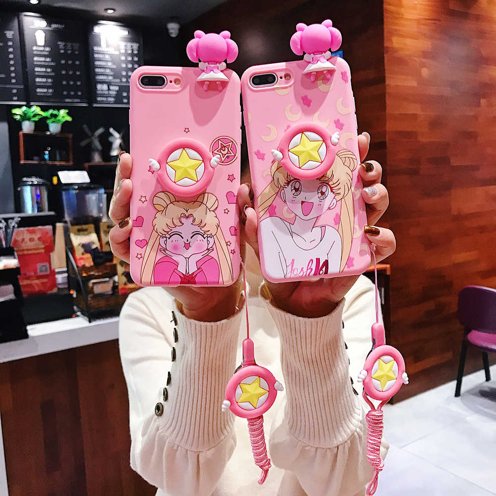 Sailor Moon Bonito Rosa Caixa Do Telefone de Silicone Com Cordão Para iphone 6 7 8 TPU Caso Capa Mole Para O iphone X XR tampa Do Telefone móvel